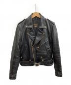 VANSON()の古着「ダブルライダースジャケット」|ブラック