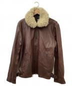 Y-3(ワイスリー)の古着「パンチングロゴレザージャケット」|ブラウン