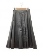 ESTNATION(エストネーション)の古着「エコレザーフレアスカート」 ブラック