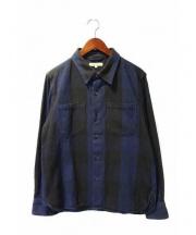 DESCENDANT(ディセンダント)の古着「ネルシャツ」|ブルー×ブラック
