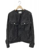 Rags McGREGOR(ラグスマックレガー)の古着「ノーカラーレザージャケット」|ブラック