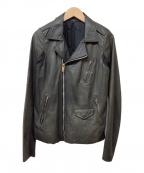 RICK OWENS(リックオウエンス)の古着「袖切替レザーライダースジャケット」 ブラック