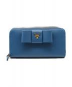 PRADA(プラダ)の古着「ラウンドファスナー財布/サフィアーノ」|ブルー