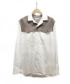 CMMN SWDN(コモン スウェーデン)の古着「オープンカラー切替シャツ」|ホワイト×ブラウン