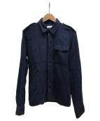 DRIES VAN NOTEN(ドリスバンノッテン)の古着「リネン混シャツジャケット」 ネイビー