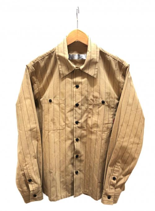BLUCO WORK GARMENT(ブルコワークガーメント)BLUCO WORK GARMENT (ブルコワークガーメント) シャツ ブラウン サイズ:M ストライプの古着・服飾アイテム