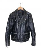 HORN WORKS(ホーンワークス)の古着「レザーライダースジャケット」|ブラック