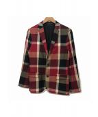 BLACK LABEL CRESTBRIDGE(ブラックレーベルクレストブリッジ)の古着「チェックテーラードジャケット」|レッド×ブラック