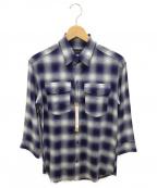 LOUNGE LIZARD(ラウンジリザード)の古着「シャツ」|ブルー×ホワイト