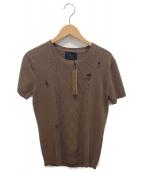 LOUNGE LIZARD(ラウンジリザード)の古着「ダメージ加工半袖ニットソー」|ブラウン