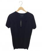 LOUNGE LIZARD(ラウンジリザード)の古着「ダメージ加工半袖ニットソー」|ブラック