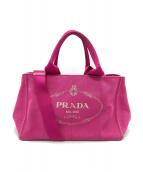 PRADA(プラダ)の古着「キャンバストートバッグ」|ショッキングピンク