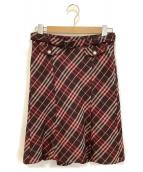 BURBERRY BLUE LABEL(バーバリーブルーレーベル)の古着「チェックウールスカート」|レッド×ブラウン
