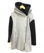 RUXE de vance(リアルキューブ)の古着「異素材フーデッドコート」|ライトグレー×ブラック