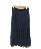 ()の古着「チュールスカート」|ネイビー×グリーン