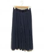 Jocomomola(ホコモモラ)の古着「チュールスカート」|ネイビー×グリーン