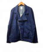 rehacer(レアセル)の古着「ワイドデニムライダースジャケット」|インディゴ