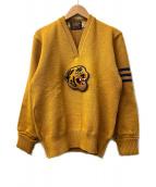SKOOKUM(スクーカム)の古着「タイガーワッペンVネックセーター」|マスタード