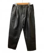 stein(シュタイン)の古着「フェイクレザーワイドパンツ」|ブラック