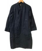 ()の古着「ノーカラーショップコート」|ネイビー