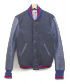 H.R.MARKET(ハリウッドランチマーケット)の古着「袖レザーブルゾン」|ネイビー