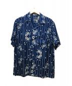 BLUE BLUE(ブルーブル)の古着「ハナイカダバッセンSSアロハ」|インディゴ