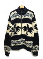 POLO RALPH LAUREN(ポロラルフローレン)の古着「カウチンニットジャケット」|ホワイト×ネイビー