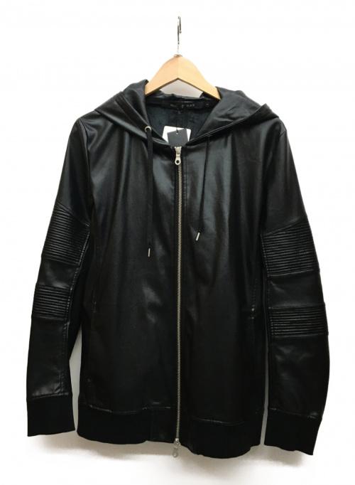 NO ID. BLACK(ノーアイディーブラック)NO ID. BLACK (ノーアイディーブラック) フェイクレザージップパーカー ブラック サイズ:S 未使用品の古着・服飾アイテム