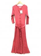 ()の古着「フロント釦7分袖ニットワンピース」|ピンク