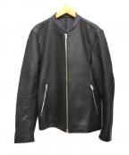 LIDnM(リドム)の古着「シングルライダースラムレザージャケット」 ブラック