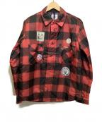 VOTE MAKE NEW CLOTHES(ヴォートメイクニュークローズ)の古着「中綿転写プリントジャケット」|レッド×ブラック