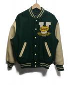 VAN JAC(ヴァンジャケット)の古着「袖レザースタジャン」|グリーン×ベージュ