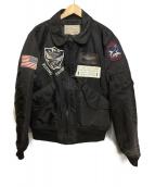 AVIREX(アビレックス)の古着「タイガーシャークスフライトジャケット」|ブラック