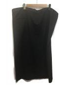 YOHJI YAMAMOTO(ヤマモトヨウジ)の古着「ウェストファスナー シルク混ギャバワイドスカート」|ブラック