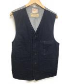 BONCOURA(ボンクラ)の古着「ヘリンボーン切替ベスト」|ブルー