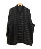 COMME des GARCONS HOMME(コムデギャルソンオム)の古着「80'sノーカラーウールジャケット」 ブラック×グレー