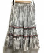 COMME des GARCONS GIRL(コムデギャルソン ガール)の古着「ギンガムチェック ギャザースカート」|グレー