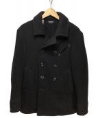 OLD JOE & Co.(オールドアンドジョー)の古着「ヘリンボーンウールPコート」|ブラック