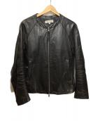 ()の古着「ノーカラーレザージャケット」|ブラック
