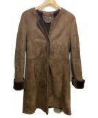 竹原クロージング(タケハラクロージング)の古着「ノーカラームートンコート」|ブラウン
