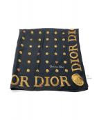 Christian Dior(クリスチャンディオール)の古着「大判シルクスカーフ」|ブラック×ゴールド