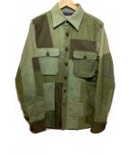 ()の古着「ミリタリーパッチワークシャツ」|カーキ×ブラウン