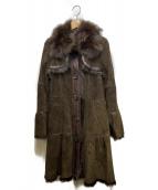 BURBERRY BLUE LABEL(バーバリーブルーレーベル)の古着「フォックスファー ムートンベルテッドコート」|ブラウン