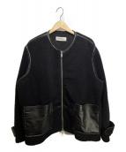 DISCOVERED(ディスカバード)の古着「別注ノーカラーボアブルゾン」|ブラック