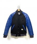 BEDWIN &THE HEARTBREAKERS(ベドウィンアンドザ ハートブレイカーズ)の古着「袖キルティング革アワードジャケット」 ブラック×ブルー