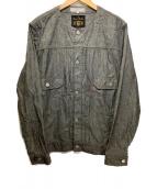 ()の古着「ノーカラーシャンブレージャケット」|グレー