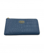 COCOCELUX GOLD(ココセリュックスゴールド)の古着「クロコ型押しL字ファスナー長財布」|スカイブルー