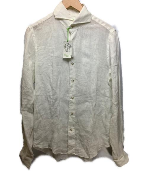finamore(フィナモレ)finamore (フィナモレ) リネンシャツ ホワイト サイズ:M 麻100%の古着・服飾アイテム