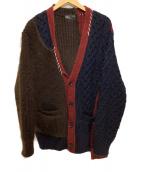 KOLOR(カラー)の古着「ニットカーディガン」|ブラウン×ネイビー×レッド