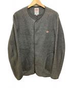 DANTON(ダントン)の古着「ノーカラーフリースジャケット」|グレー